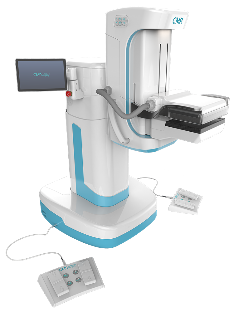 Side view of LumaGEM MBI, an off white and blue molecular breast imaging machine with two scanners, a screen, and peddles.
